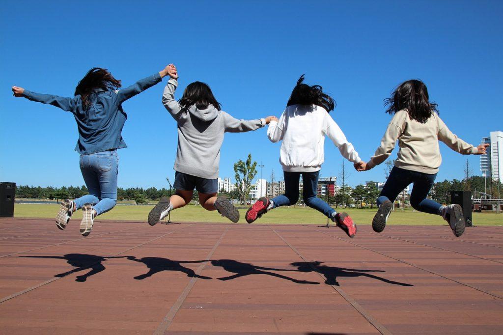 run, jump, girl